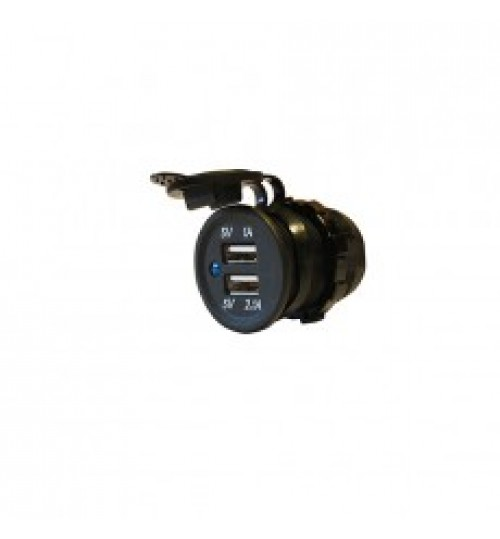 Black 12/24V USB Port Socket 060108