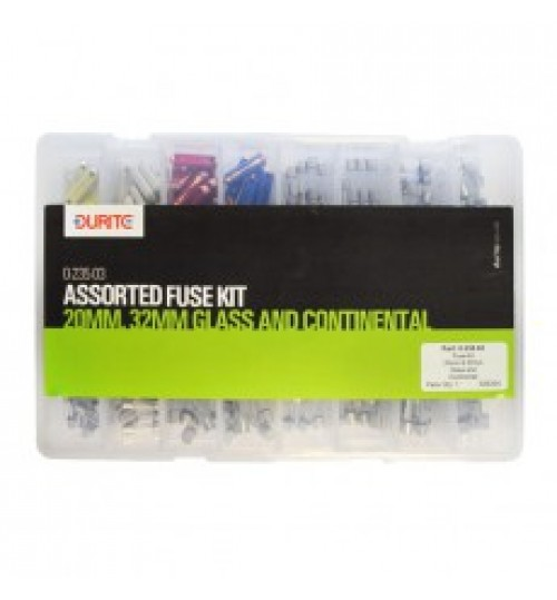 Assorted 20mm, 32mm Glass and Continental Fuse Kit 023503