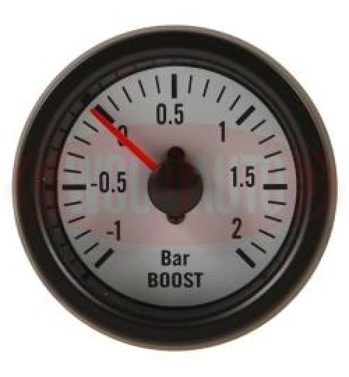 12V  Boost Gauge White Face MTR1000W12