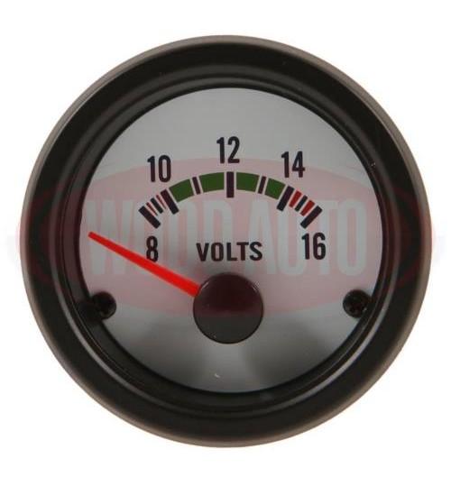 12V Voltmeter White Face  MTR1001W12