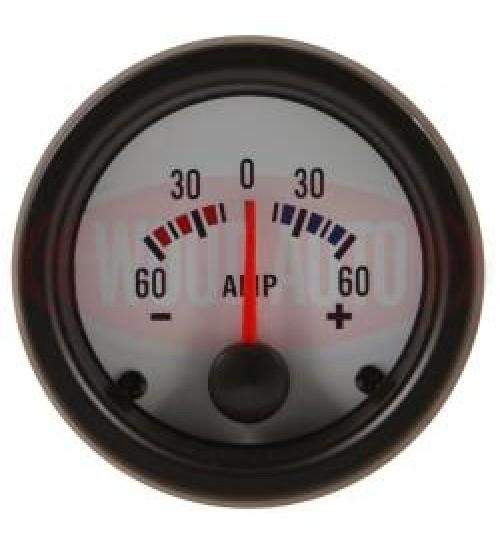12V Ammeter 60-60  White Face MTR1002W12