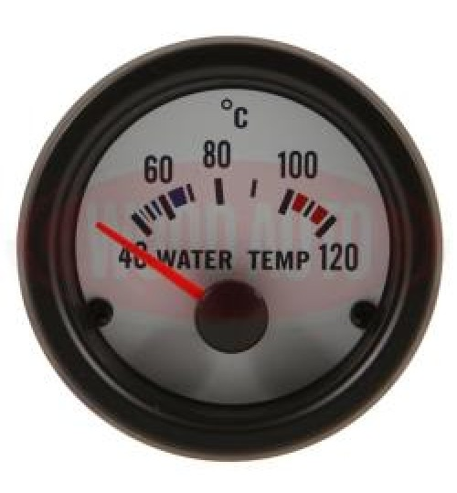 12V Water Temp  Gauge  White Face MTR1003W12