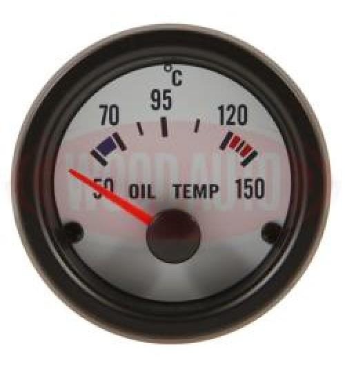 12V Oil Temp Gauge White Face MTR1004W12