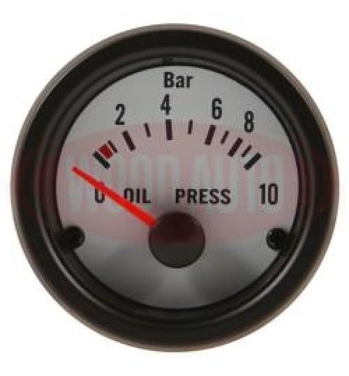 12V Oil Pressure Gauge  White Face MTR1005W12