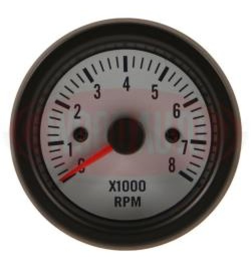 12V Tachometer White Face MTR1008W12