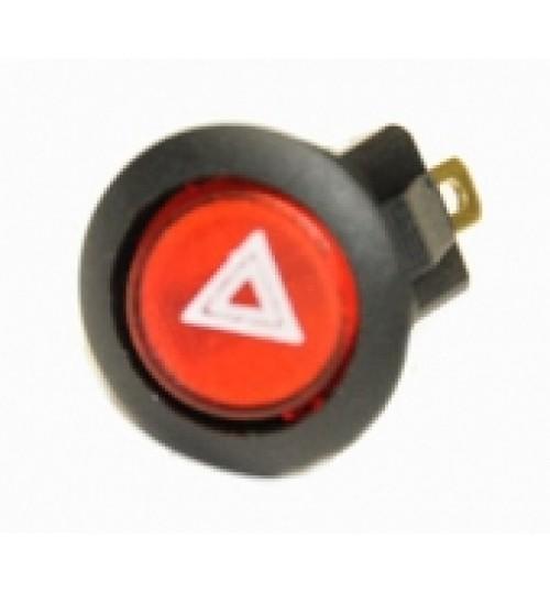 Illuminated Round Hazard Light Rocker Switch Red   LED  EX724HAZARD