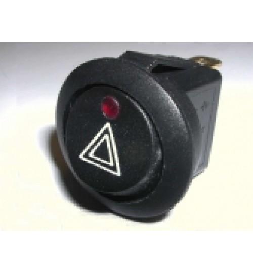 Illuminated Round Hazard Rocker Switch Red LED  EX734HAZARD